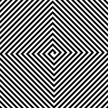 Black and white square spiral. Vector background