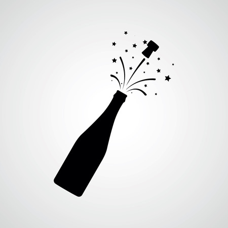 Champagne bottle explosion. Vector icon