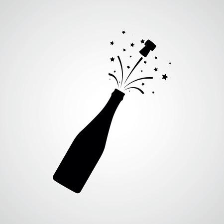 Wybuch butelki szampana. Ikona wektor