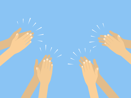 Human hands clapping. Vector illustration in flat style