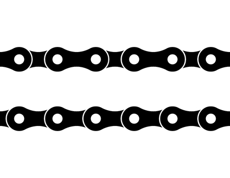 Seamless bicycle chain illustration on white background.