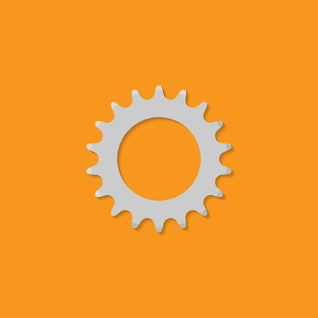 Bicycle sprocket. Icon in flat design style.