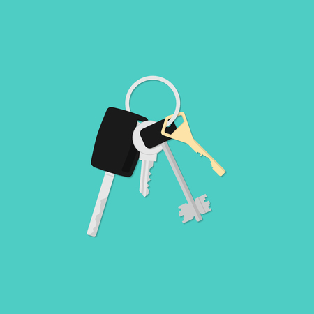 Bunch of keys. Illustration in a flat style