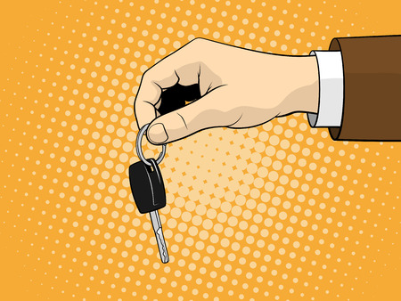 Man holding car key. Vector illustration. Pop art style Illustration