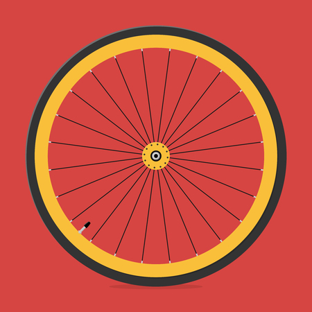 Front wheel of bicycle. Illustration in a flat style
