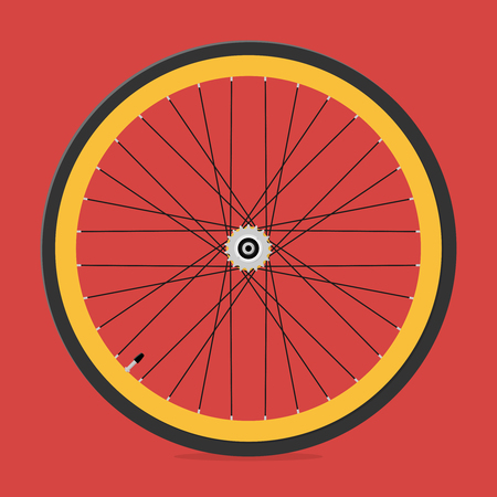 Rear wheel of bicycle with bicycle sprocket. Vector illustration. Illustration