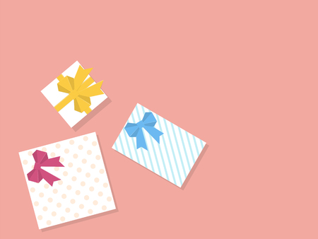 Gift boxes, view from above flat design style. Ilustração