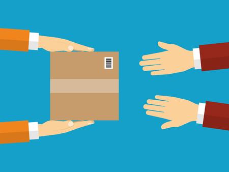 Recibiendo el paquete del servicio de mensajería a la vista del cliente desde arriba. Ilustración vectorial