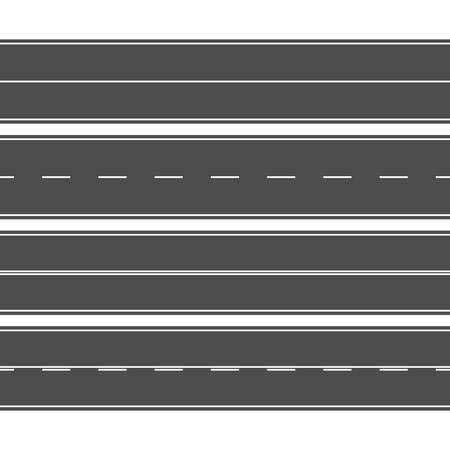 Horizontal straight seamless roads with white road markings. Vector illustration.