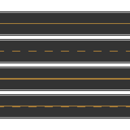 Asphalt straight seamless roads with marking set. Vector illustr