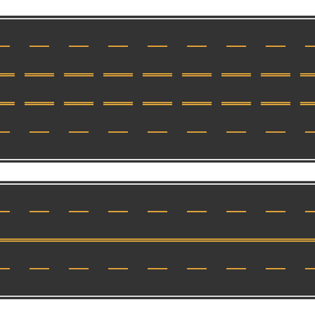 Asphalt seamless road with white and yellow stripes. Illustration