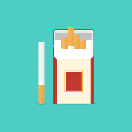 Cigarettes pack in flat style. Vector illustration