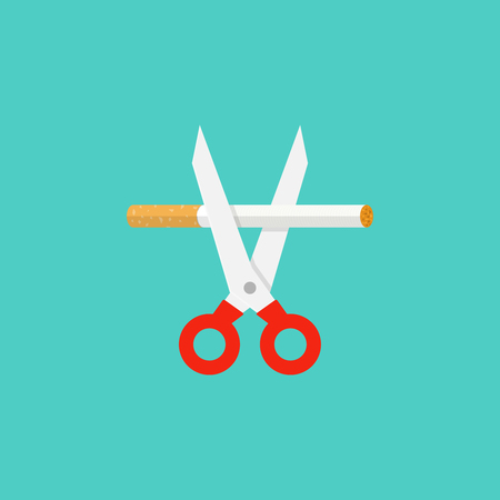 Scissors cutting a cigarette. Stop smoking concept. Illustration