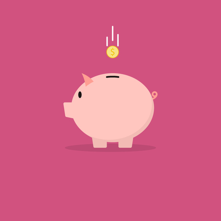 Piggy bank with coin. Vector illustration in flat style  イラスト・ベクター素材
