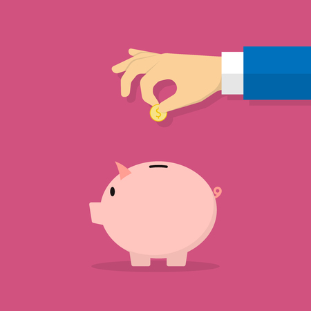 Piggy bank and hand with coin. Vector illustration in flat style