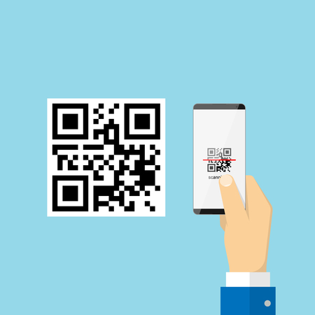 Scanning QR code with smartphone. Vector illustration in flat style