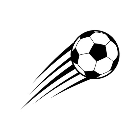 Flying soccer ball. Vector