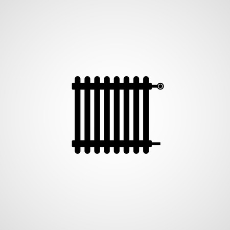 Heating radiator black silhouette Vector icon isolated on light background. Ilustracja