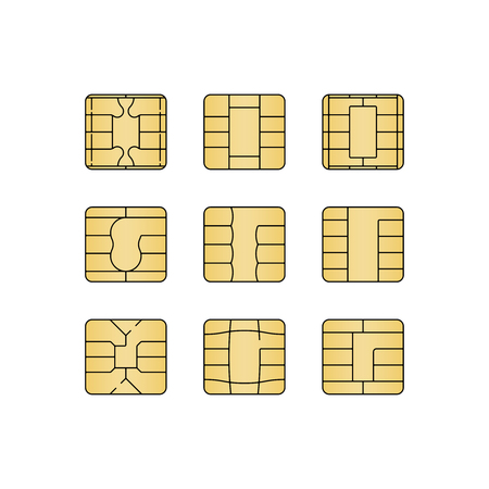 Sim card chip set isolated on white background. Vector illustrat