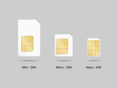 Set of sim cards. Vector illustration