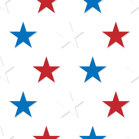 Seamless patterns made from red, white and blue five pointed sta