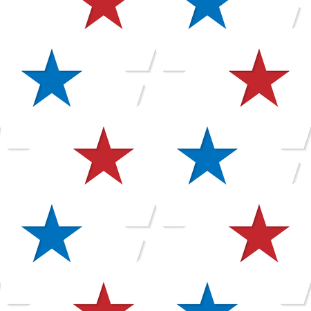 Seamless patterns made from red, white and blue five pointed sta Vektoros illusztráció
