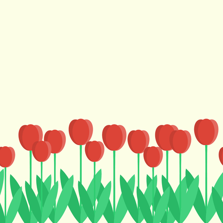 Seamless border with red tulips. Vector illustration in flat sty