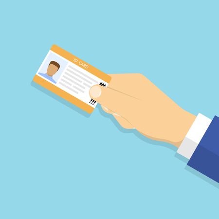 Hand holding the id card. Vector illustration in flat style Stock Illustratie