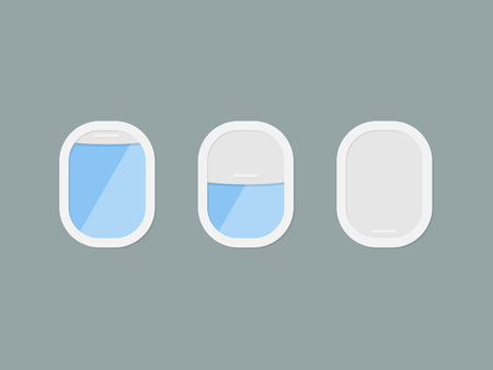 Three portholes of airplane with open and closed window. View fr Illustration