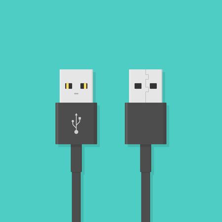 USB plug. Vector illustration in flat style