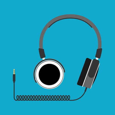 Headphones. Vector illustration flat design style Иллюстрация