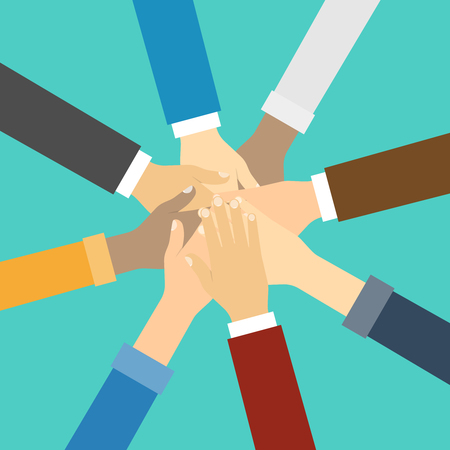 Friends with stack of hands showing unity and teamwork, top view. Vector illustration in flat style.