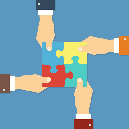 Teamwork and cooperation concept. Hands holding puzzle pieces together. Vector illustration in flat style