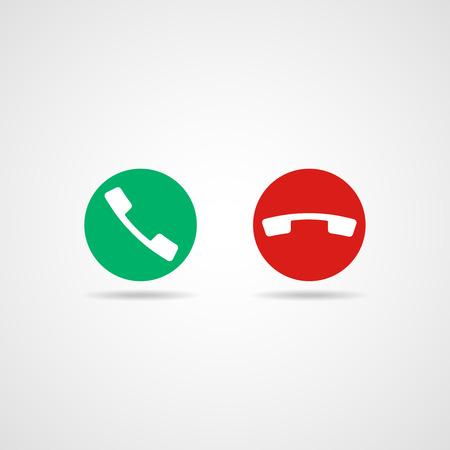Icono de teléfono rojo y verde. Vector