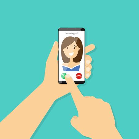 Połączenie przychodzące na ekranie smartfona. Ręka trzyma smartphone. Płaska konstrukcja ilustracji wektorowych