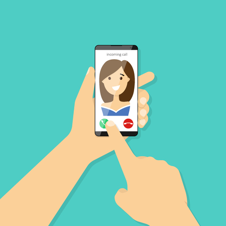 Incoming call on smartphone screen. Hand holding smartphone. Vector illustration flat design