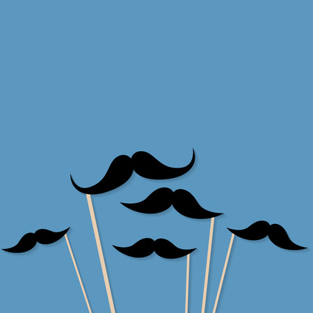 Moustache photo booth props. Mustache cut outs. Movember Movement. Vector background