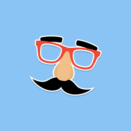 Mask with glasses fake nose and mustache. Illustration