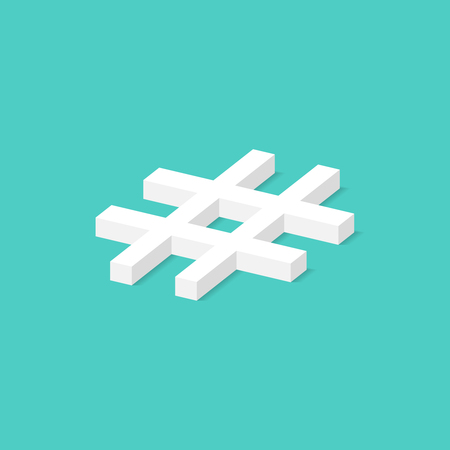 Hashtag isometric concept. Vector illustration in flat style