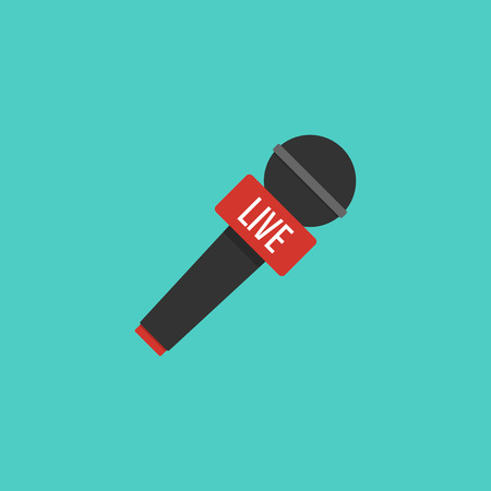Microphone illustration in flat style. Symbol breaking news on TV. Vector