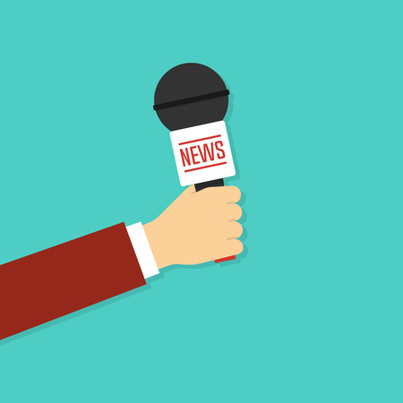 Microphone in reporter hand Illustration