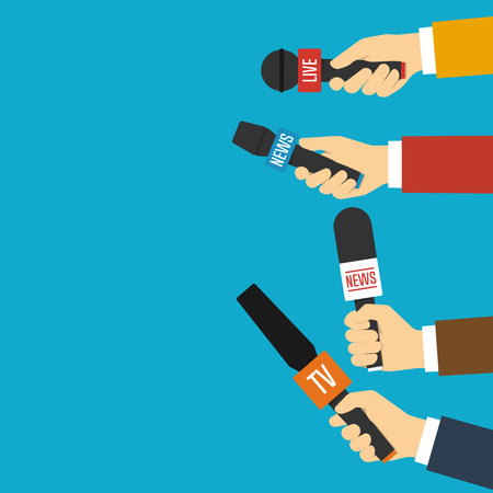 Journalists hands holding microphones performing interview. Vector illustration in flat style