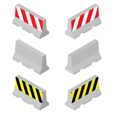 Concrete road barriers. Isometric 3D concept. Vector