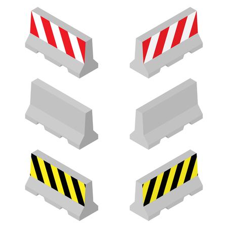 Barriere stradali in cemento. Concetto 3D isometrico. Vettore