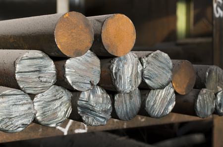 Rusty metal rods close up
