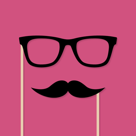 Moustache and glasses photo booth props. Vector background with space for your text
