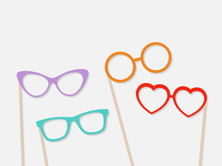 Photo booth props glasses isolated on grey background. Vector Çizim