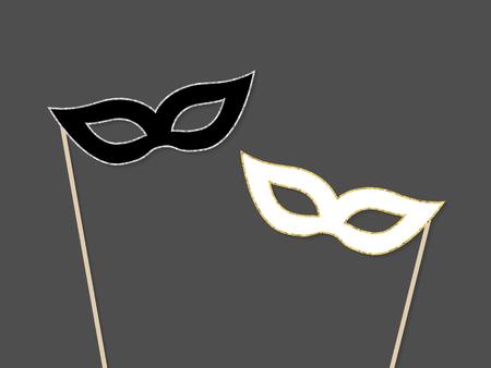 Black and white masks. Vector illustration in flat style  Çizim
