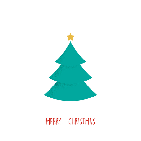 Christmas greeting card. Christmas tree, vector simple design.