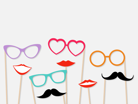 Photo booth props female lips, moustache and glasses isolated on grey background. Vector